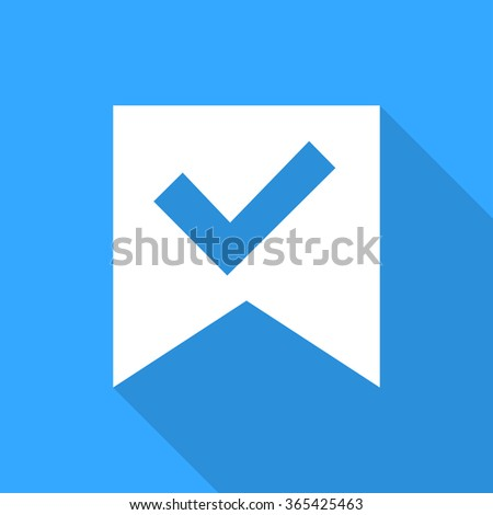 Check mark sticker on a blue background.  With flat shadow - stock vector