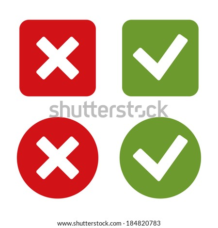 Check Mark Stickers and Buttons. Red and Green. Vector. - stock vector