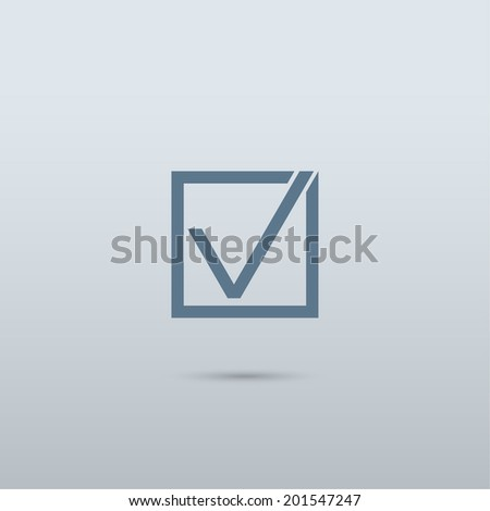 Check mark symbol and icon for approved design concept and web graphic - stock vector