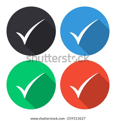 Check mark vector icon - colored(gray, blue, green, red) round buttons with long shadow - stock vector