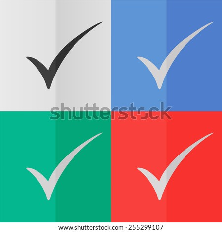 Check mark vector icon. Effect of folded paper. Colored (red, blue, green) illustrations. Flat design - stock vector