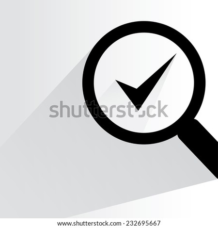 check mark, verification concept on white background, flat and shadow theme - stock vector
