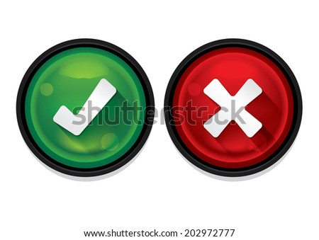 Check marks buttons isolated. Vector Illustration - stock vector