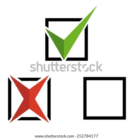 Check marks isolated on a white. Vector illustration - stock vector