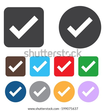 Check sign icon. Yes button. Colourful 9 buttons. Vector - stock vector