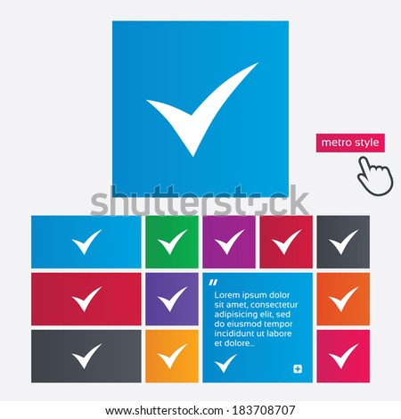 Check sign icon. Yes symbol. Confirm. Metro style buttons. Modern interface website buttons with hand cursor pointer. Vector - stock vector