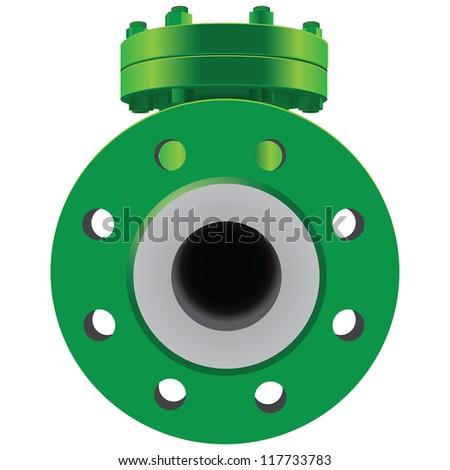 Check Valve pipe water metal steel piston industrial plumb refinery liquid gas oil wheel pipeline. Vector illustration - stock vector