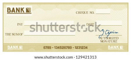check with space for your own text (bank cheque, bank cheque blank for your business, blank check, green business check) - stock vector