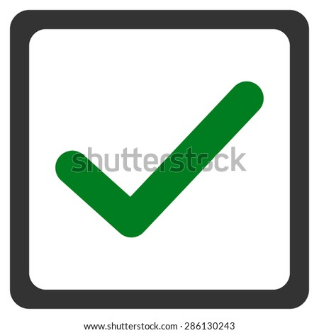 Checked checkbox icon from Business Bicolor Set. This flat vector symbol uses green and gray colors, rounded angles, and isolated on a white background. - stock vector