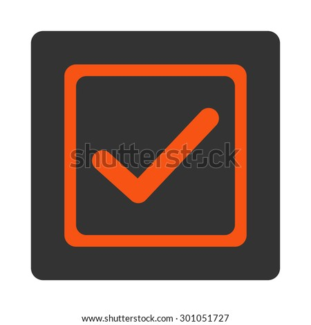 Checked checkbox icon. This flat rounded square button uses orange and gray colors and isolated on a white background. - stock vector