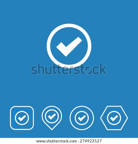 Checked Icon on Flat UI Colors with Different Shapes. Eps-10. - stock vector