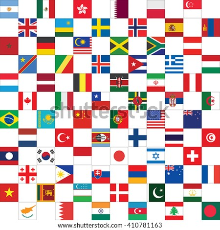 checkerboard pattern with world flag icons vector illustration - stock vector