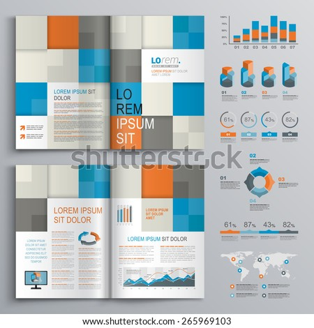 Checkered brochure template design with blue, orange and gray square shapes. Cover layout and infographics - stock vector