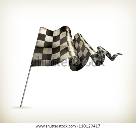Checkered Flag, old-style vector isolated - stock vector