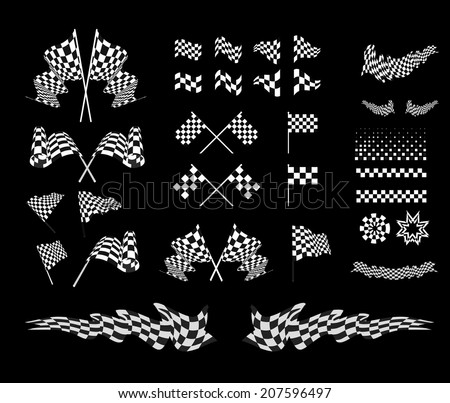 Checkered flag vector set illustration on black background - stock vector