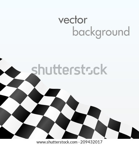 Checkered flag. Wave background  - stock vector