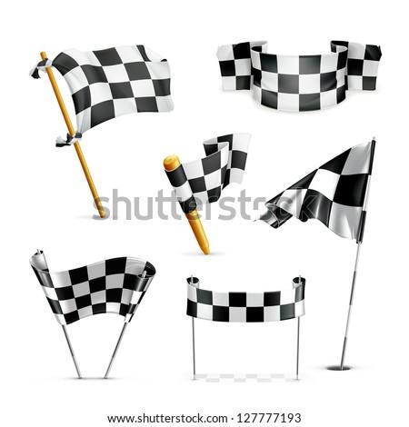 Checkered flags, vector set - stock vector
