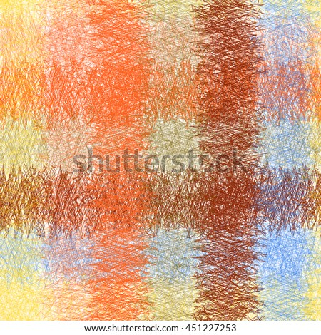Checkered grunge striped weave seamless pattern in blue,orange,brown, yellow colors - stock vector