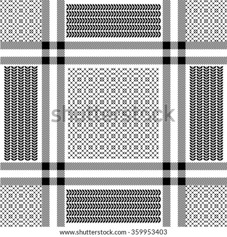 Checkered keffiyeh vector seamless pattern with floral and geometric ornaments. Traditional Middle Eastern headdress. Black and white. Backgrounds & textures shop. - stock vector