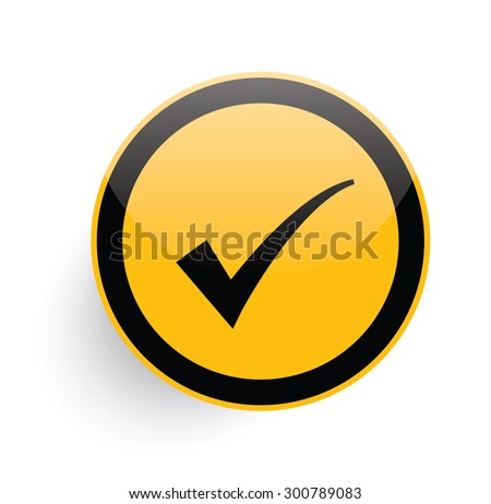 Checking icon on yellow button background,clean vector - stock vector