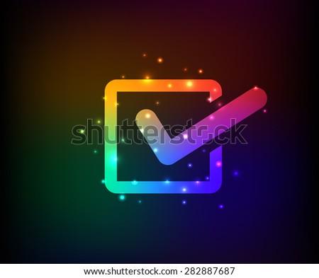 Checking mark design, rainbow concept design. Clean vector. - stock vector