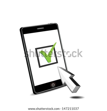 checking with smart phone - stock vector