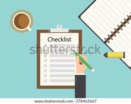 Checklist clipboard. Flat design for business financial marketing banking advertising web concept cartoon illustration. - stock vector