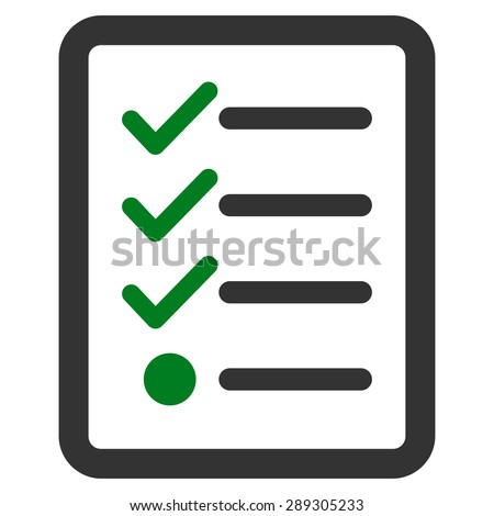 Checklist icon from Business Bicolor Set. Vector style: bicolor flat symbol, green and gray colors, rounded angles, white background. - stock vector