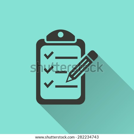 Checklist  - vector icon in black on a green background. - stock vector