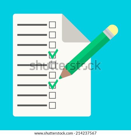 checklist with pencil in flat style. isolated on blue background. vector illustration - stock vector
