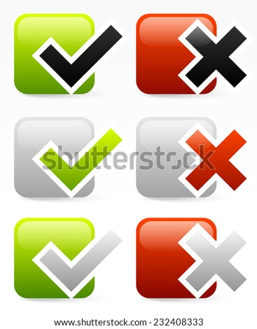 Checkmark and cross over squares - stock vector