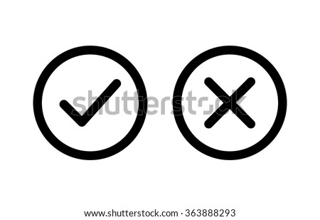 Checkmark / check, x or approve & deny line art icon for apps and websites. - stock vector