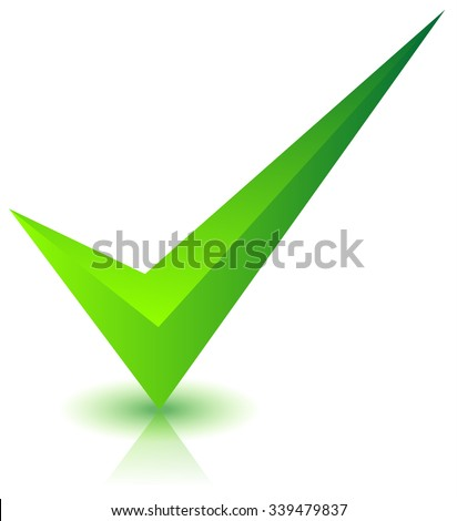 Checkmark icon with shadow and reflection on white - stock vector