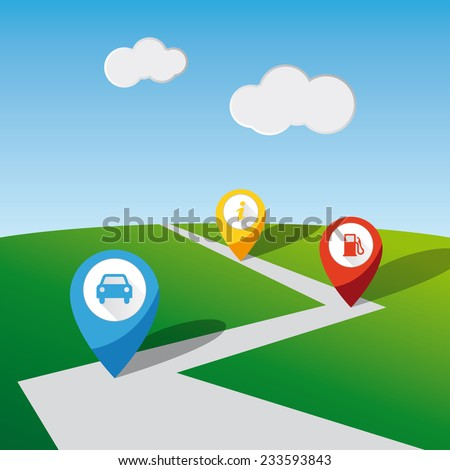 Checkpoint map pins over a road. Car, petrol station and information icons. - stock vector