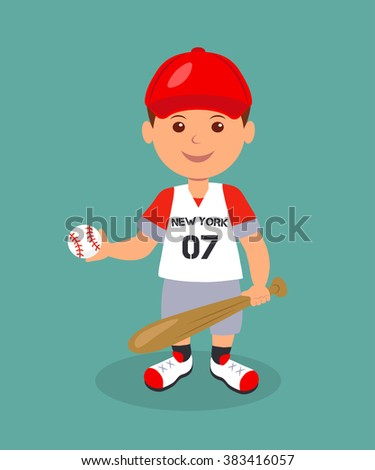 Cheerful boy baseball player with bat and ball. Isolated man character in a red baseball uniform with bat and ball in his hands. - stock vector