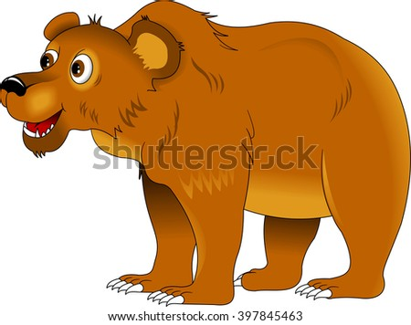 cheerful brown bear on a white background, vector illustration - stock vector