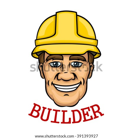 Cheerful builder worker with a yellow hard hat and text Builder below. Use as building industry occupation, construction business and technology theme design - stock vector