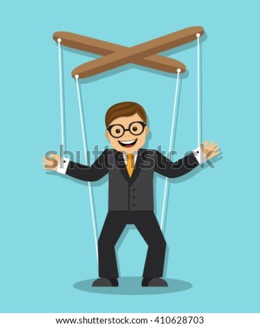 cheerful businessman does not know what he is puppet - stock vector