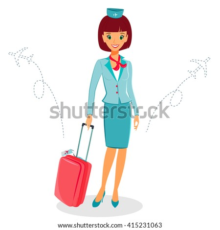 Cheerful cartoon flight attendant in blue and red uniform with suitcase, vector illustration professional occupation character. Isolated on white background. Communication in the air concept - stock vector