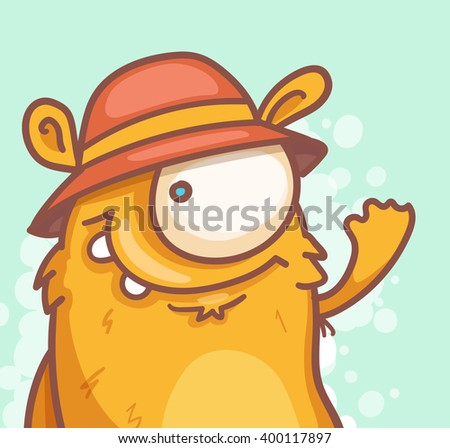 Cheerful Cartoon Monster - stock vector