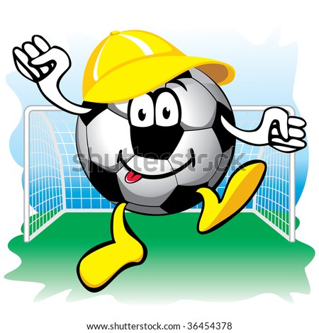 cheerful cartoon soccer ball with cap in the goal - stock vector
