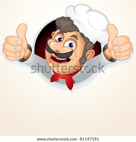 Cheerful Chef Cook, vector cartoon illustration - stock vector