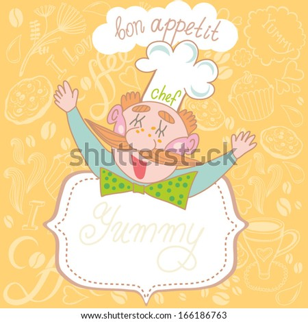 Cheerful chef with catering tray says bon appetit! Nice background with Funny Chef and coffee pattern. - stock vector