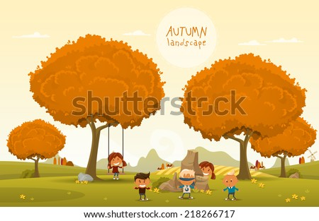 Cheerful children play outdoors. Vector illustration of Autumn theme - stock vector