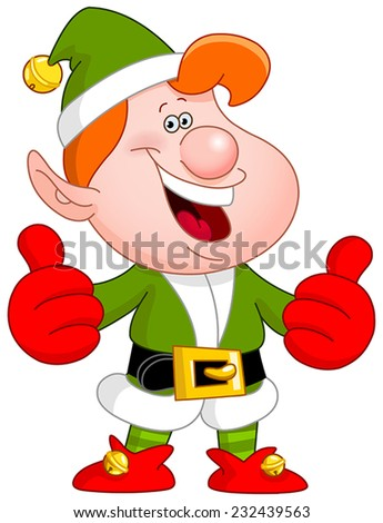 Cheerful Christmas elf showing thumbs up - stock vector