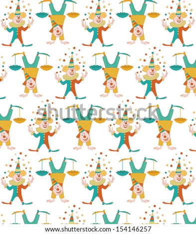 cheerful clowns with umbrellas and balls on white background-seamless - stock vector