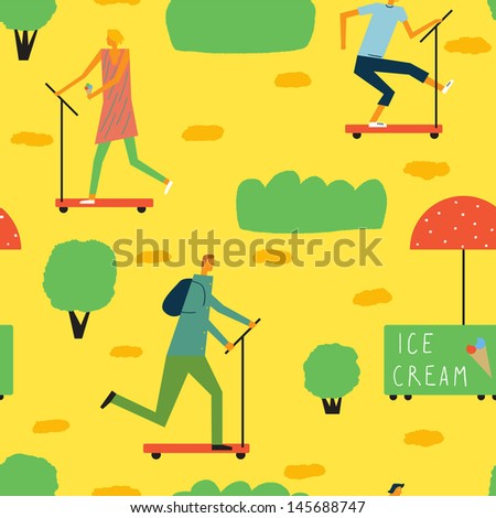 Cheerful day off in the park. Vector seamless background - stock vector
