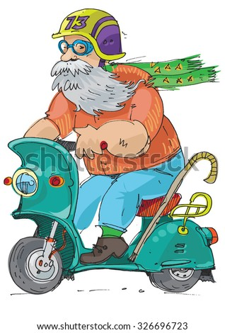 cheerful elderly person riding on a scooter - cartoon  - stock vector