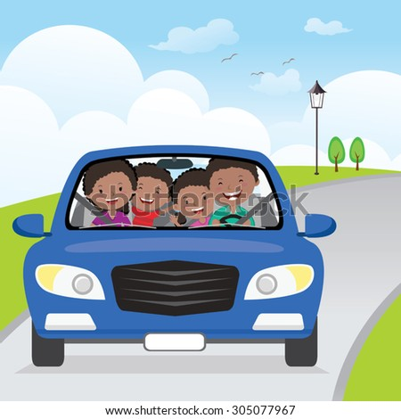 Cheerful family driving in car on holiday. Happy family traveling in the blue car on the road. - stock vector