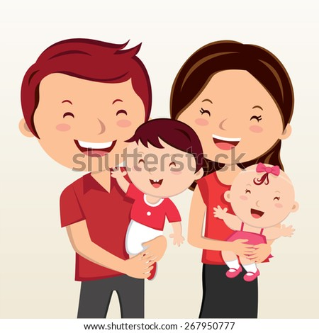 Cheerful family smiling. Happy family in red clothes smiling. - stock vector